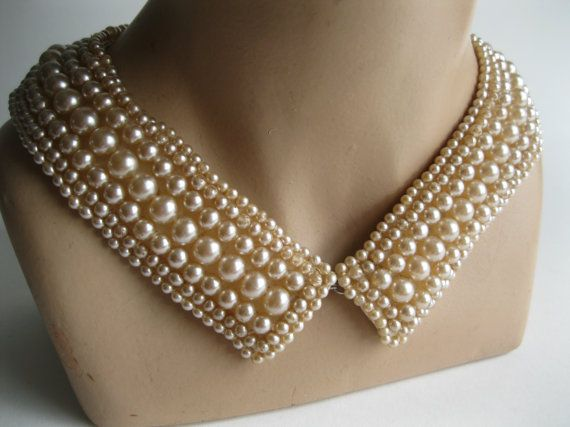 Vintage 1950s Beaded Collar Necklace Faux Pearl di unionmadebride, $48.00