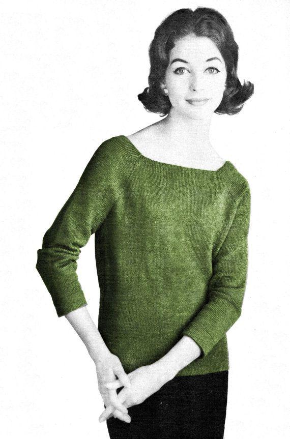 1950s Simple Tunic Sweater - Machine Knit Pattern PDF 0159 | Simple ...