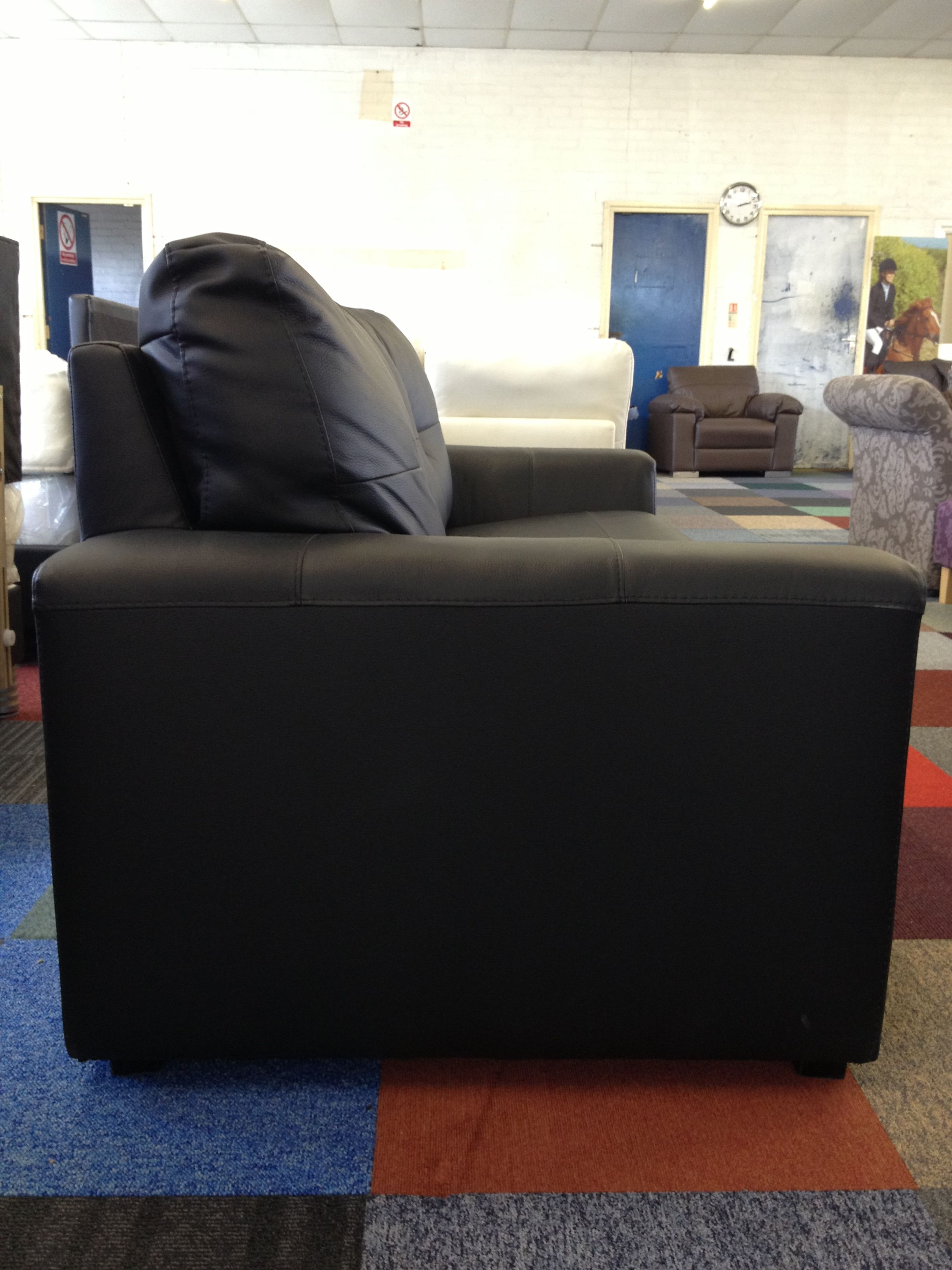 Aston Leather Sofa Bed Black