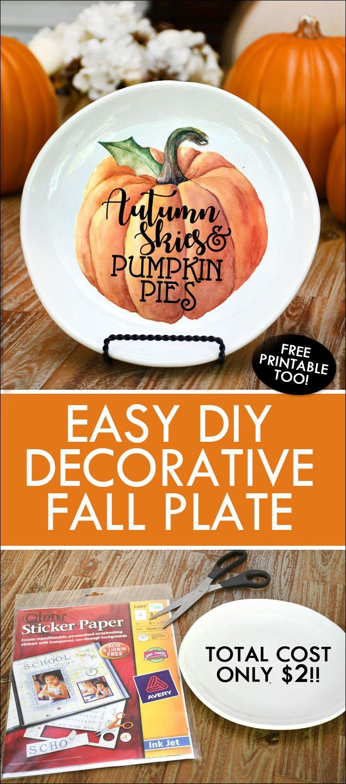 DIY Pumpkin Fall Decorative Plate - Under $2 to Make! & DIY Pumpkin Fall Decorative Plate - Under $2 to Make!   Fall ...