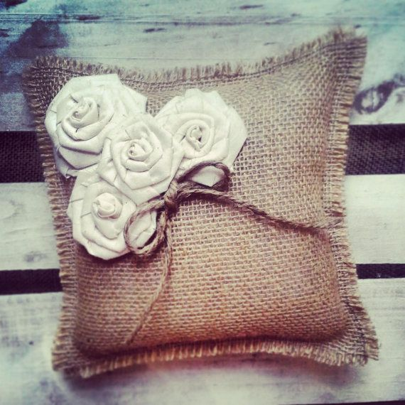 Natural Burlap Ring Bearer Pillow w/ Cream Muslin Rosettes #wedding #ceremony #rustic