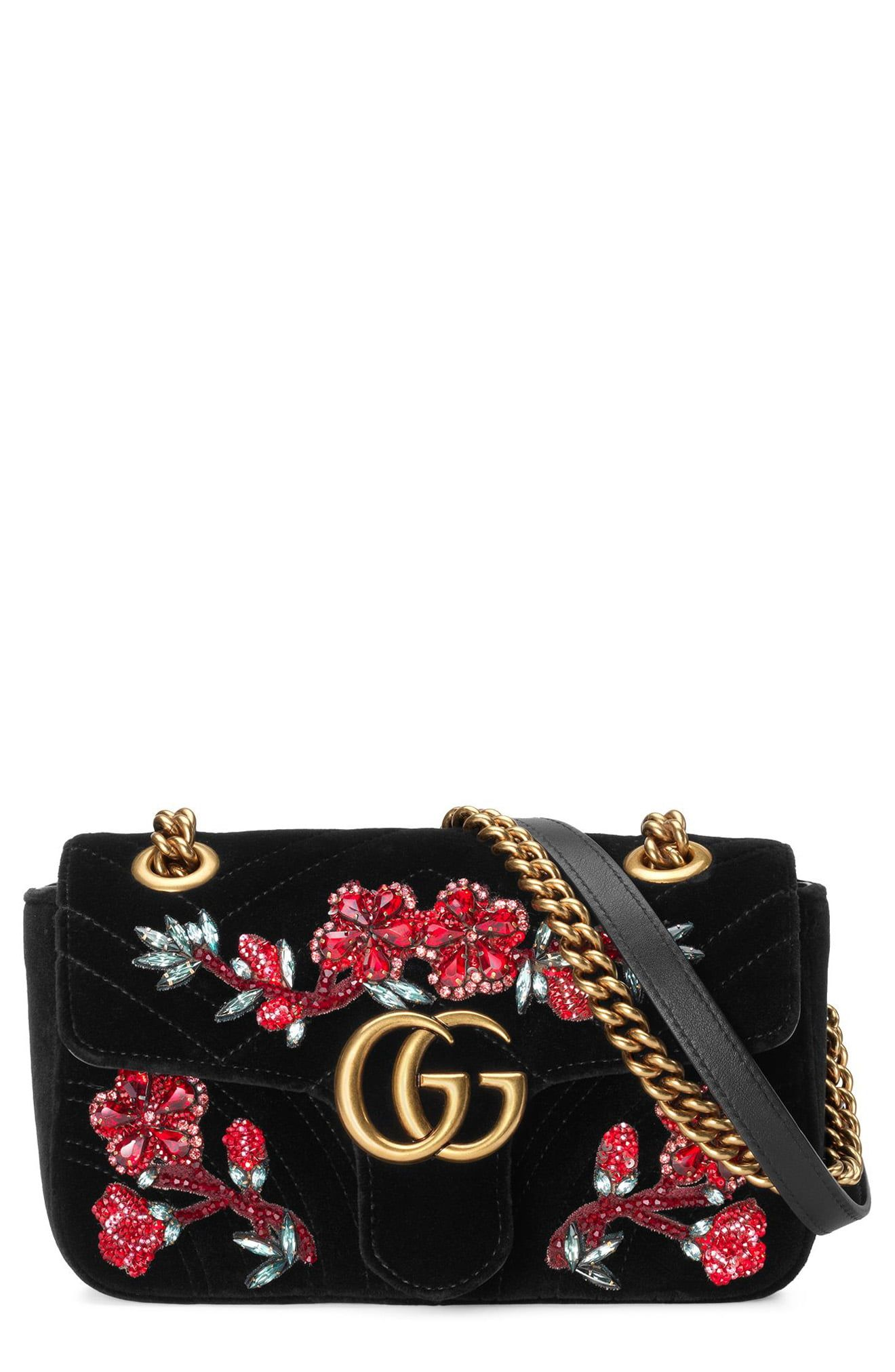 50e99bc2d Gucci Mini Gg Marmont Matelassé Velvet Shoulder Bag - None ...
