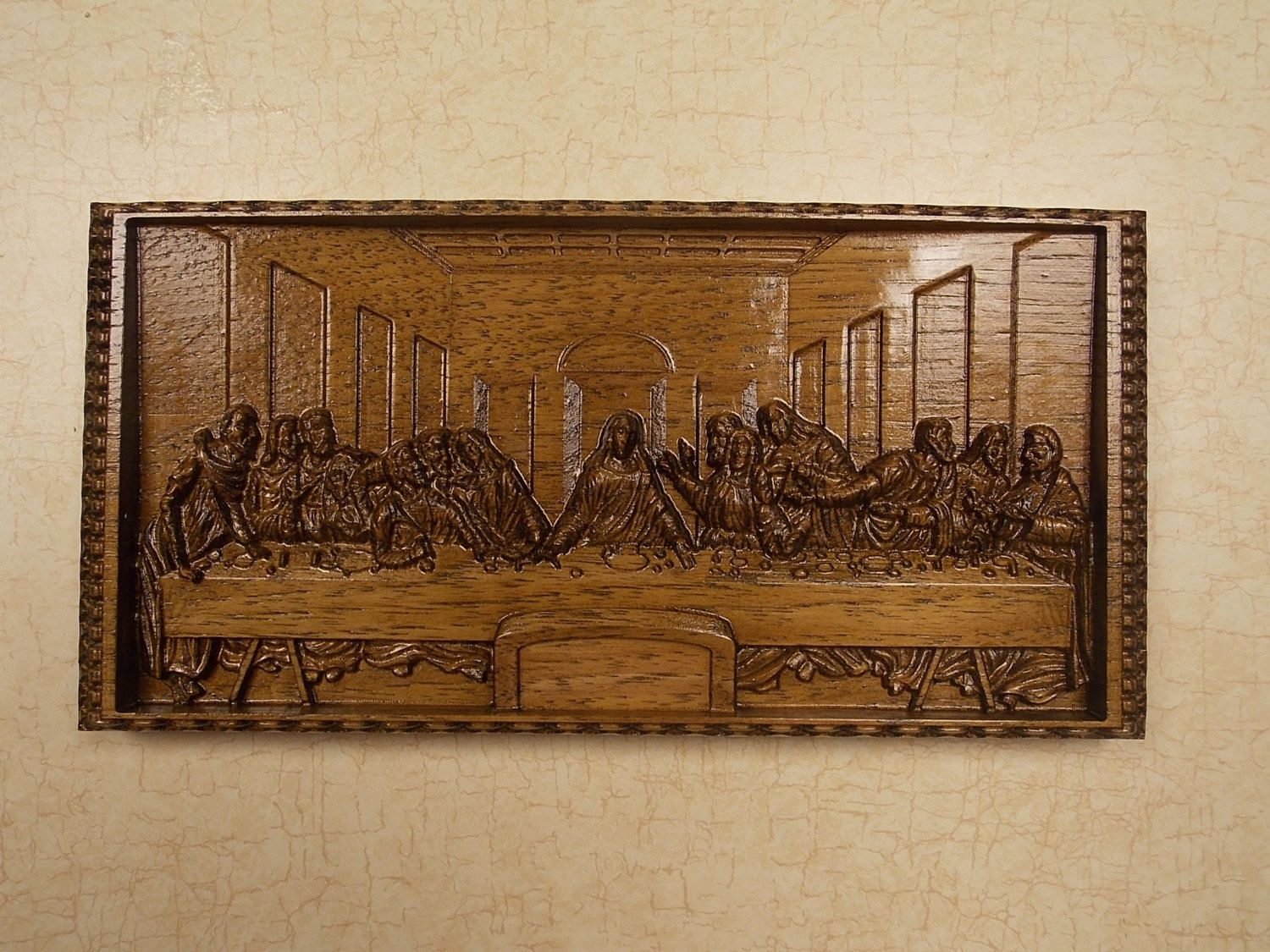 Leonardo Da Vinci The Last Supper Wall Decor Cnc Wooden Gifts 8 X 4 Hickory Wood Art Gift For Pastor Religious