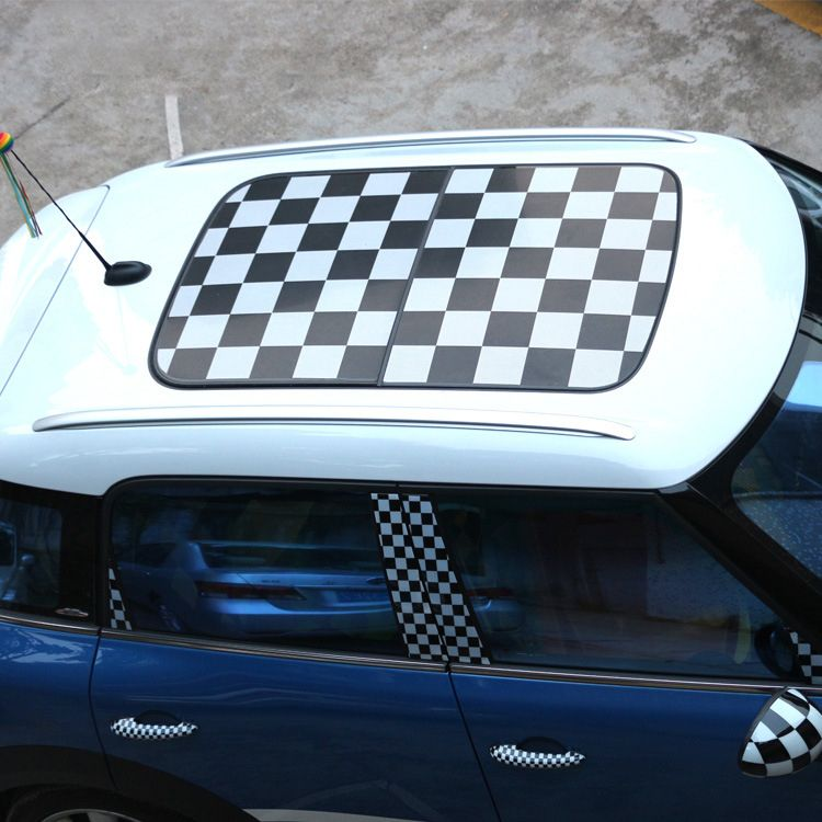 Mad Checkered Union Jack Sun Roof Decal Stickers