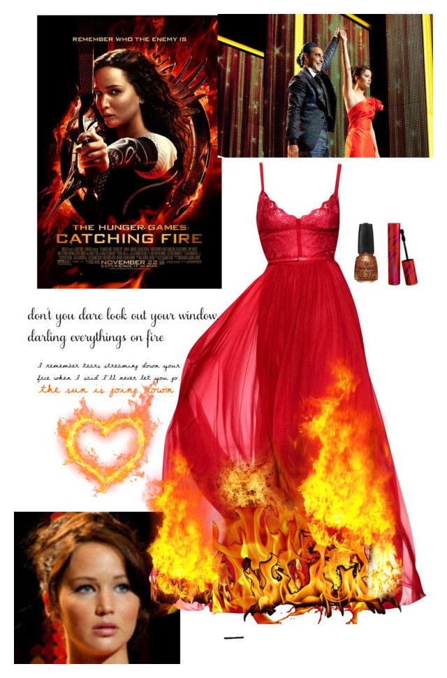 Girl on Fire by lj-case on Polyvore featuring polyvore, fashion, style, Elie Saab, Traits and clothing