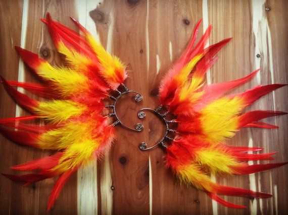 Photo of Rising Phoenix Feather Ear Cuff, statement, ear wing, phoenix costume, fire fairy, red, orange, yellow, boho, tribal headdress, festival