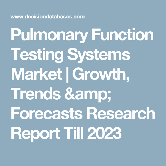 Pulmonary Function Testing Systems Market | Growth, Trends & Forecasts Research Report Till 2023