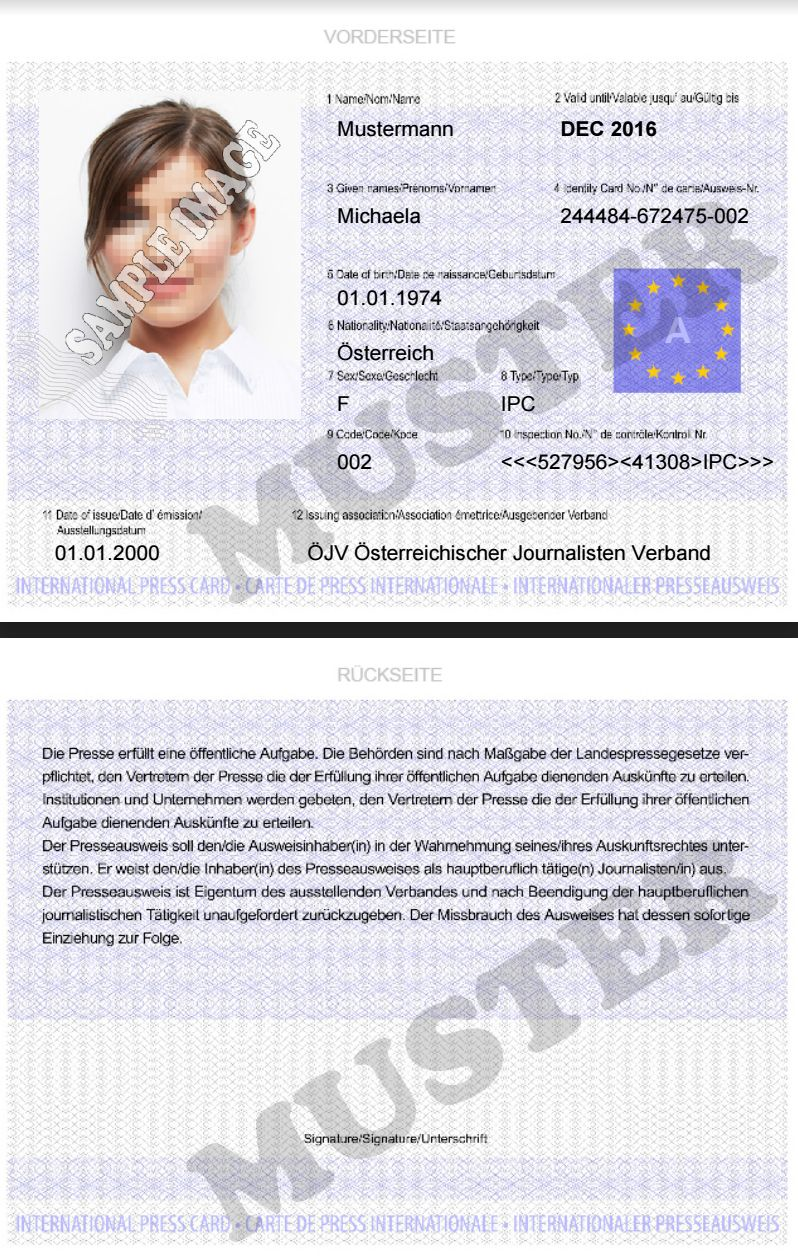 Presseausweis kaufen, Internationaler Presseausweis, Ausweis kaufen ...