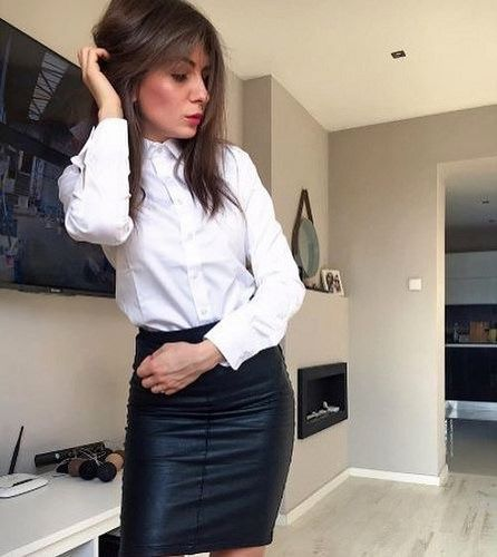 Dressed Formal In Black Skirt Suit White Shirt And Tie By Carla Cro21