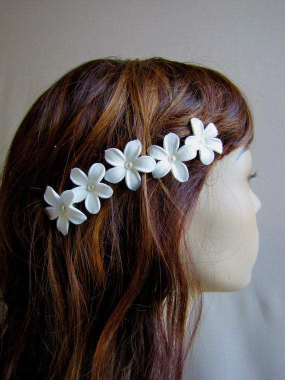 White Hair Flower 5pc Stephanotis Bobby Pins Pearl Bridal On Etsy 2000