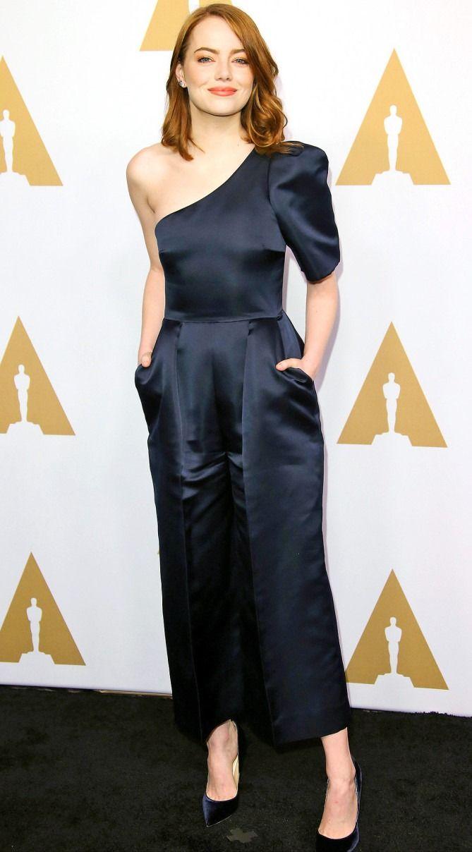 1a8c19b13b3 Emma Stone in a one-shoulder Stella McCartney jumpsuit