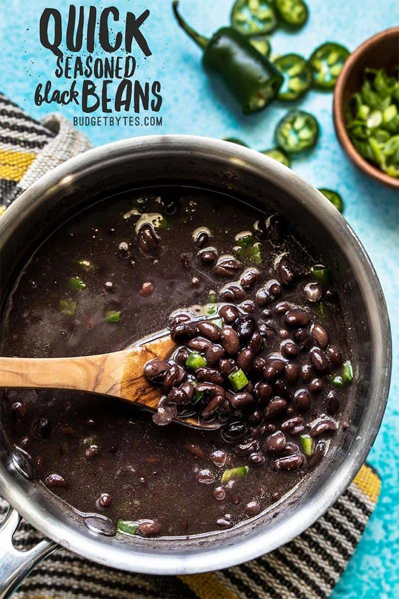 Quick Seasoned Black Beans - Easy Side Dish - Budget Bytes #dinnersidedishes