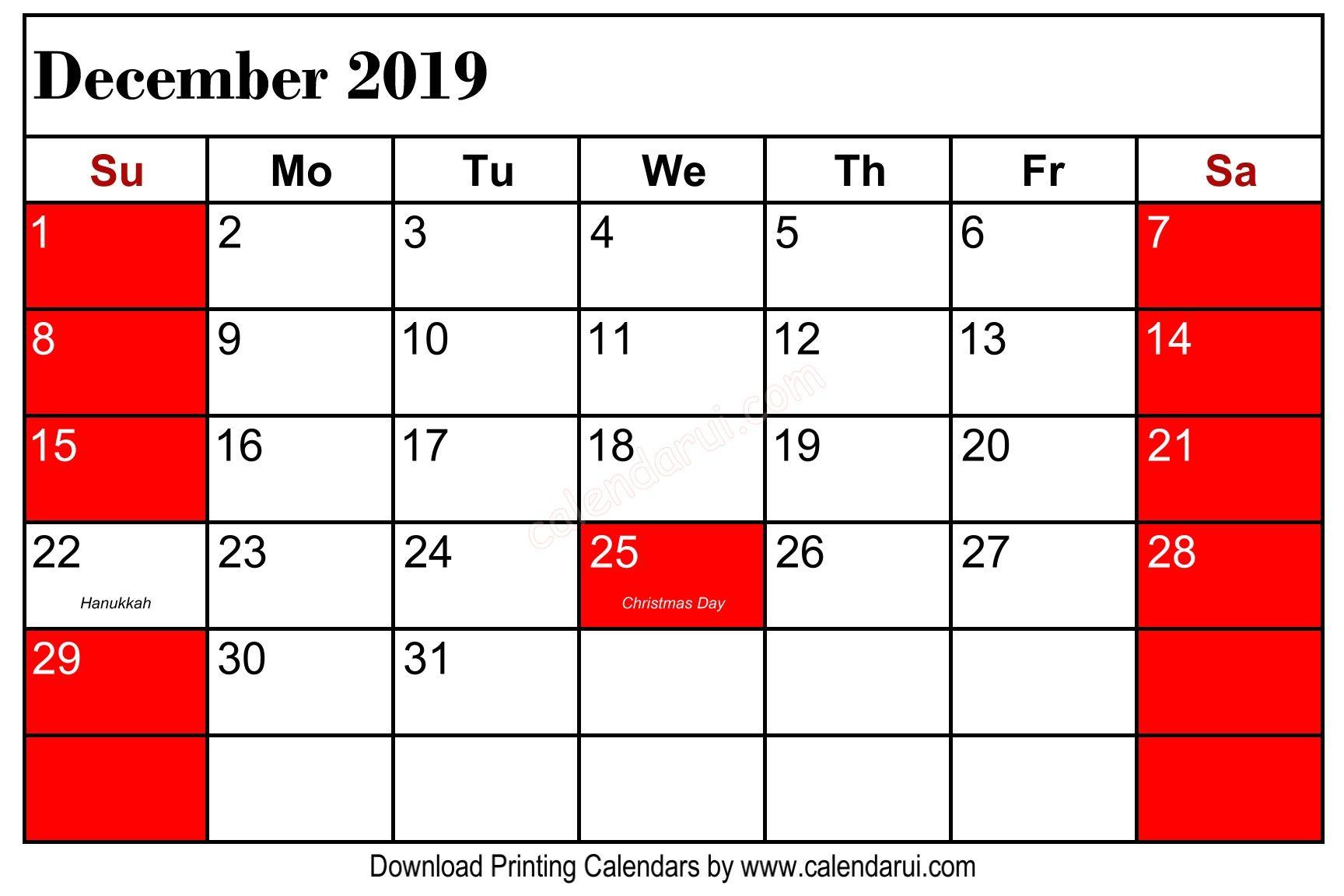 Get Free Download 3 December 2019 Calendar Holidays Printable 1