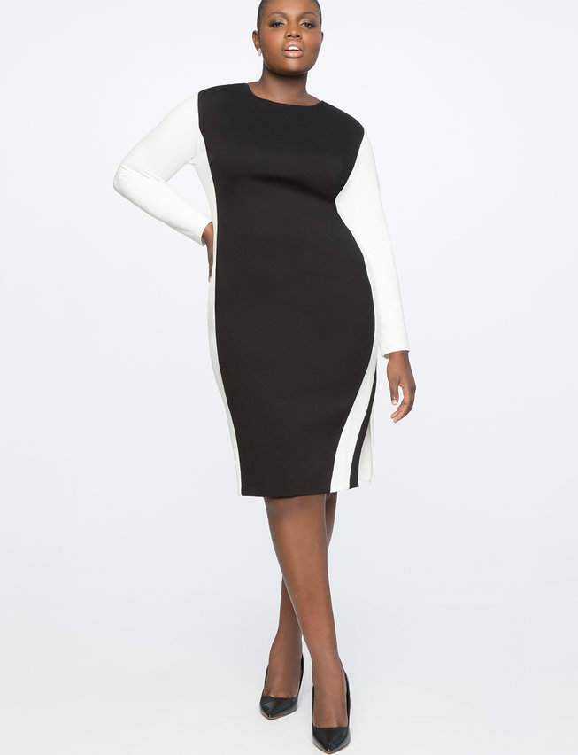 Colorblock Shift Dress with Slit | Women\'s Plus Size Dresses in 2019 ...
