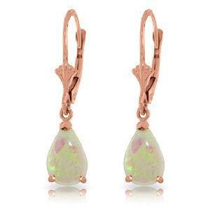 14K Solid Rose Gold Opal Glamour Earrings - 2197-R