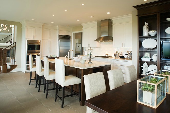 Spacious White Brown And Gray Eat In Kitchen Design With
