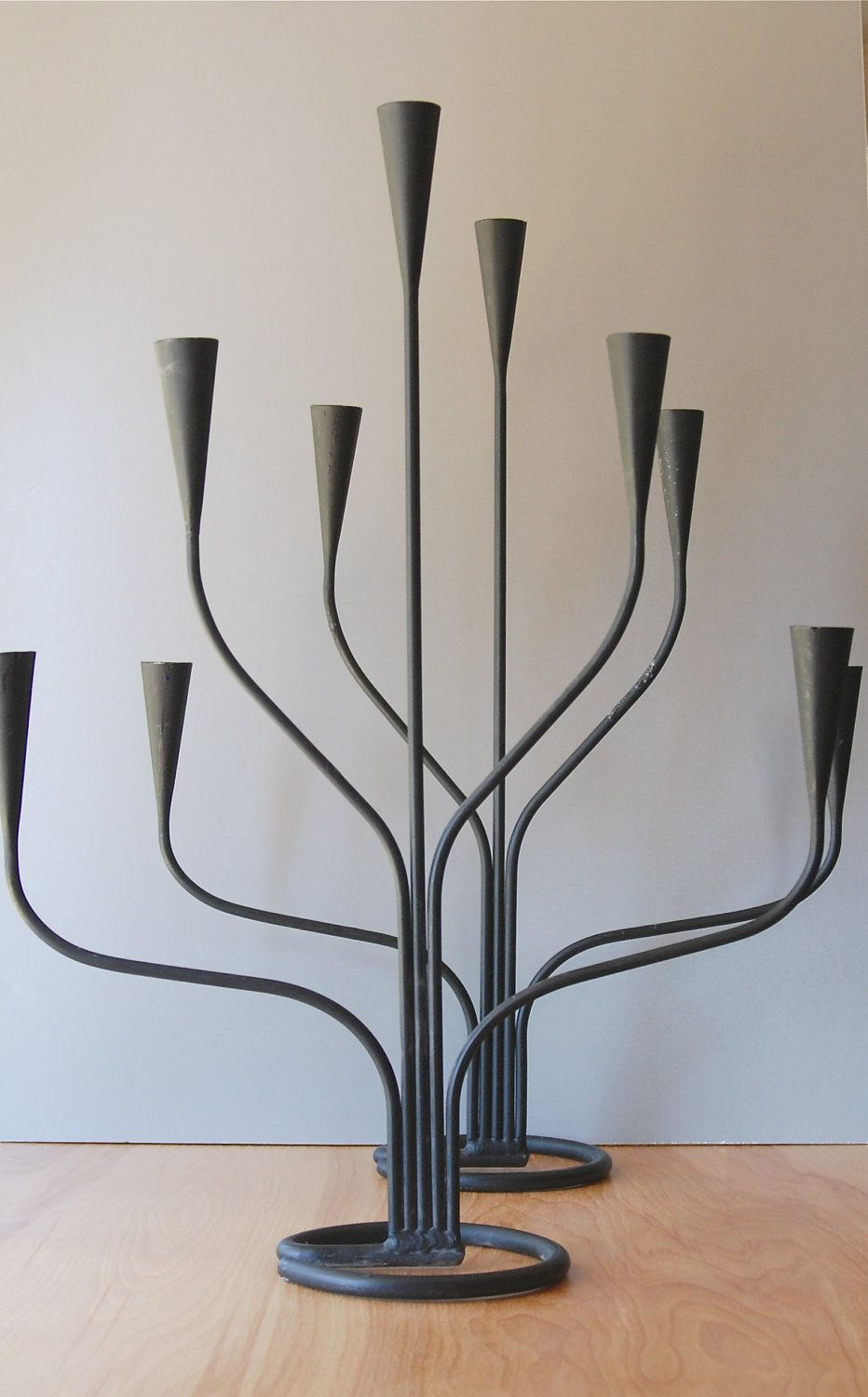 Mid century modern large candelabras sweden pair of two