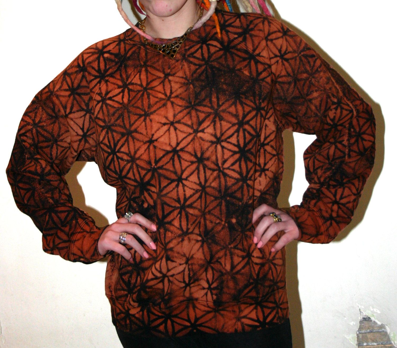 Hand of Fatima screen printed tie dye  sweatshirt by CloudCuckooCreations on Etsy