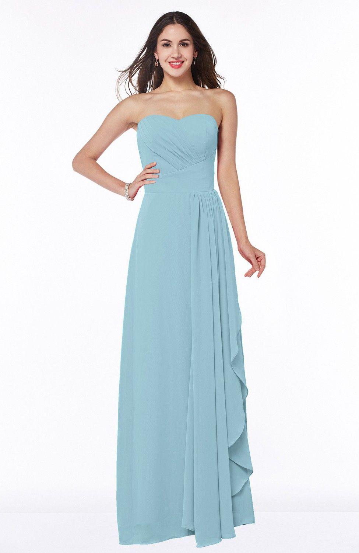 Aqua Bridesmaid Dress - Mature A-line Sleeveless Chiffon Floor ...