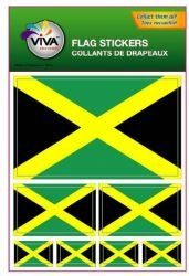 Jamaica Country Flag Set of 7 Different Size Collection Decal Stickers New in Package