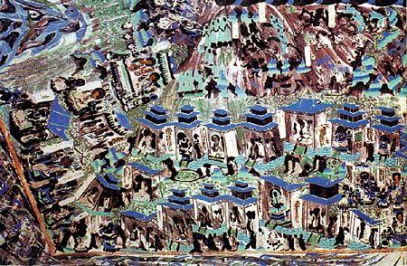 甘肃敦煌莫高窟北魏壁画《九色鹿本生故事》中的佛教建筑