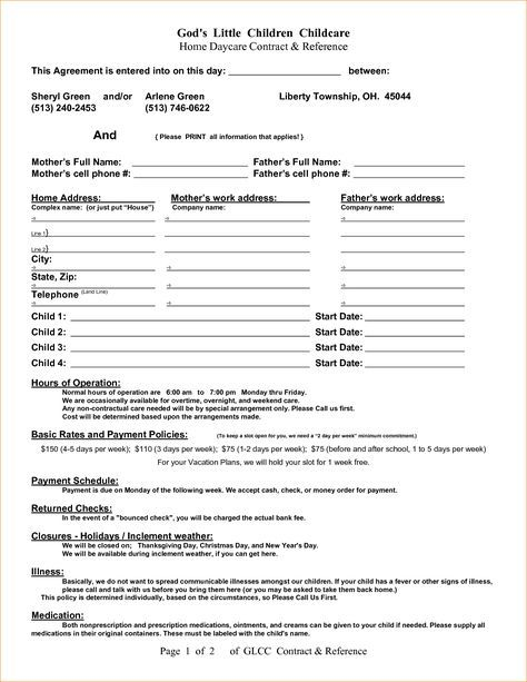 Pin Daycare Contract Template Image Search Results On Pinterest
