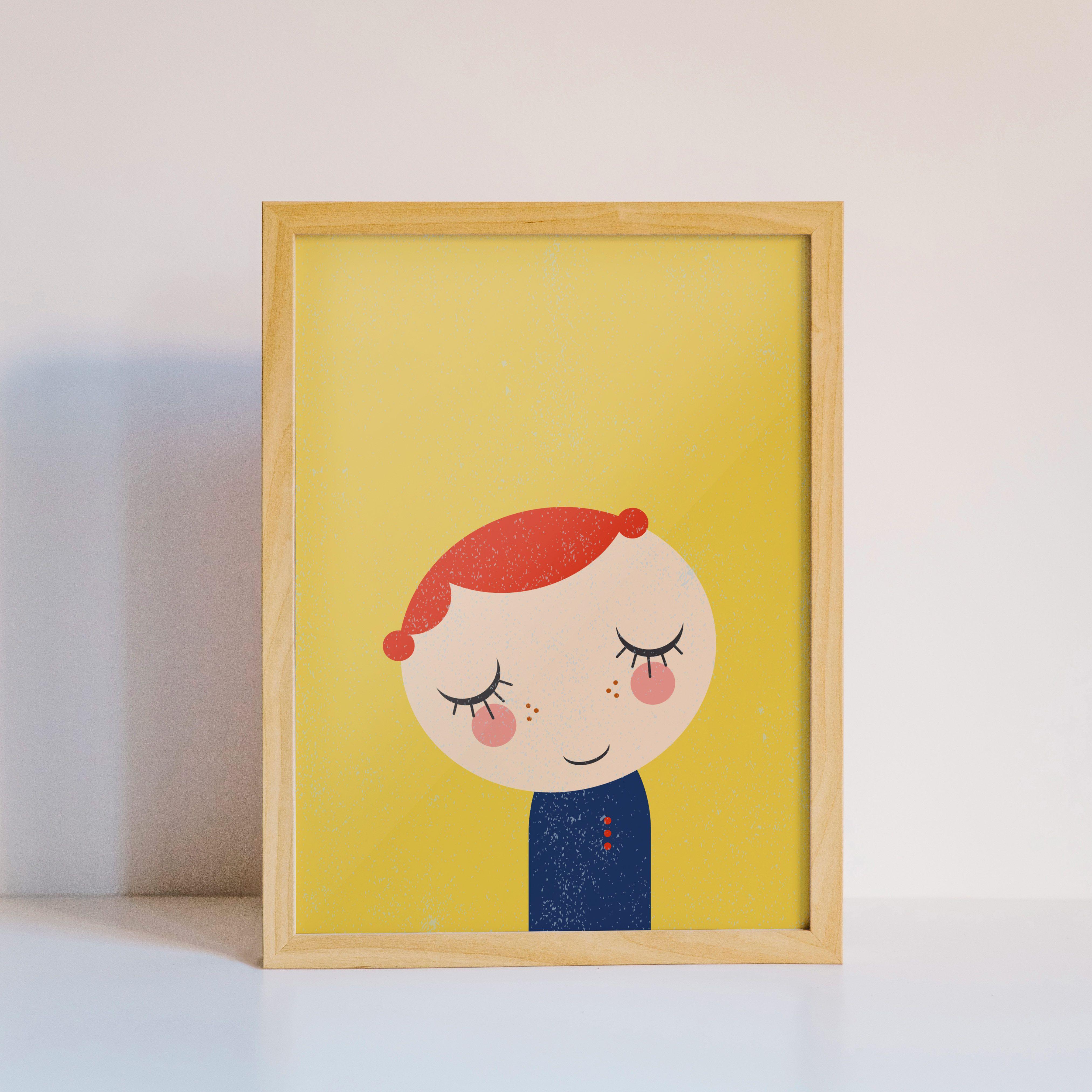 Cute redhead girl with a dark blue vintage dress, smokey cheeks, on ...