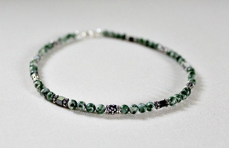 Tree Agate Hematite Silver Anklet,Sterling Silver Anklet,Graduation Gift for Girl,40th Birthday Gift for Woman,21st Birthday Gift for Her by LeaningTreeDesigns on Etsy