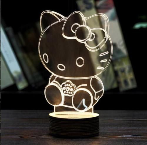 3d Illusion Hello Kitty Bulbing Night Touch Switch Table Desk Lamp Led Light Z Lamps Lighting Handcrafted Picture Frames Lamp 3d Led Light