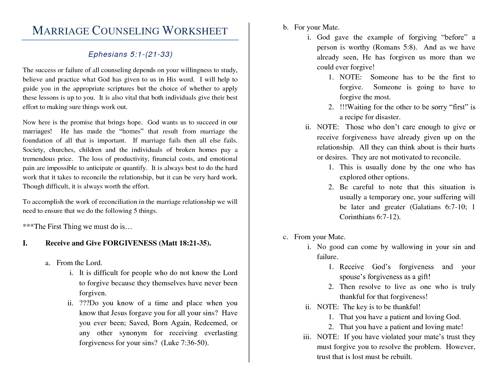 Marriage Help Worksheet
