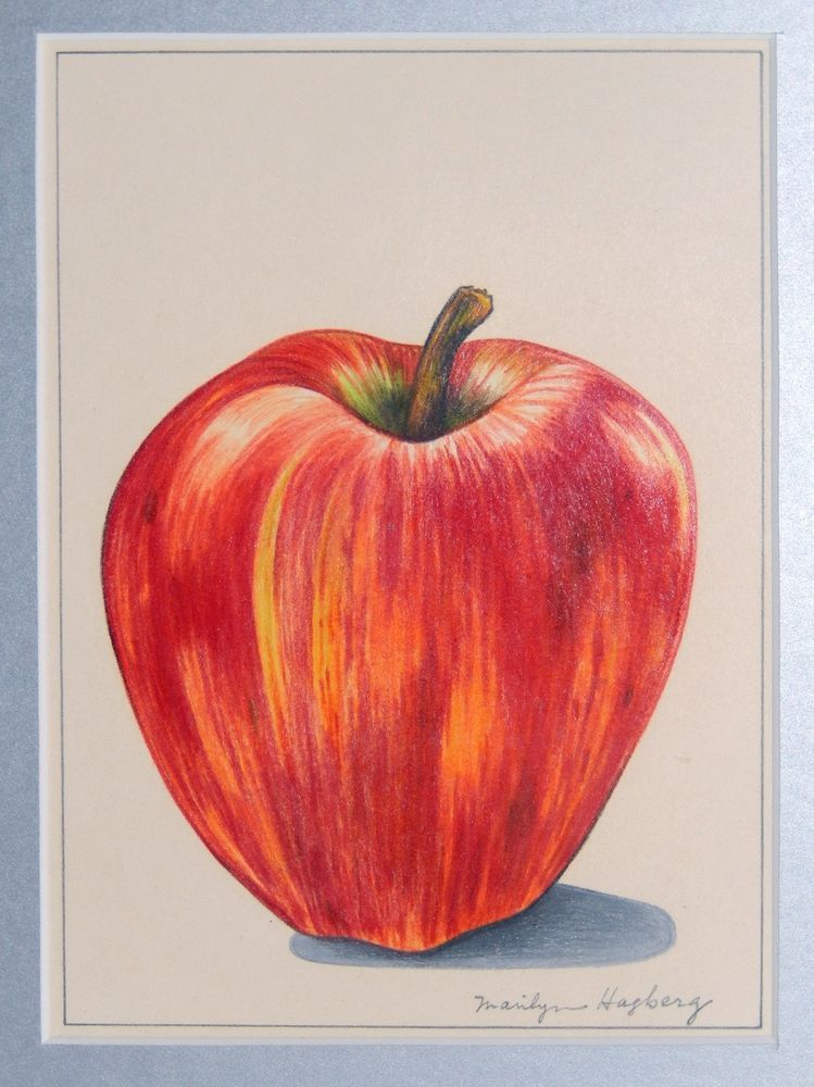 Interior Design Drawings Sketches: VTG Red Apple Original Drawing Colored Pencil Mid Century