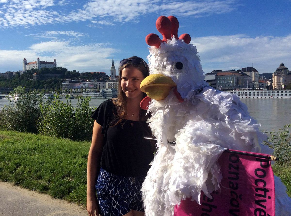Rosa takes her campaign to the streets of Slovakia, and instantly makes a new pal