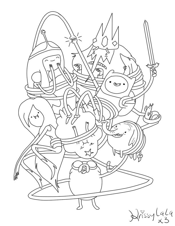 adventure time finn and friends coloring page by krissylalax3deviantartcom on - Adventure Time Coloring Pages