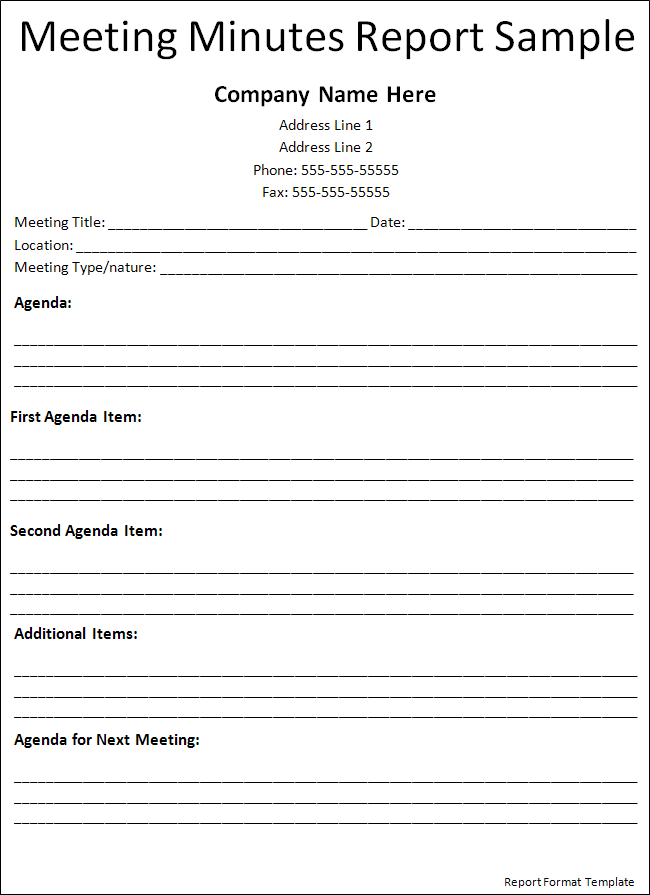 Exceptional Template · Report Format Template · Business MeetingResume ...  Business Meeting Report Template
