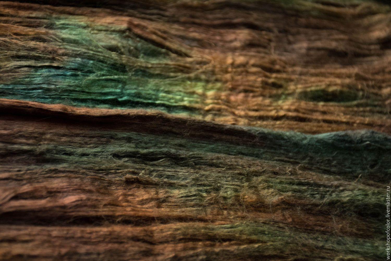 Купить Шелк для валяния Осенняя листва 2 - разноцветный, 100% натуральный шелк, 100% шелк