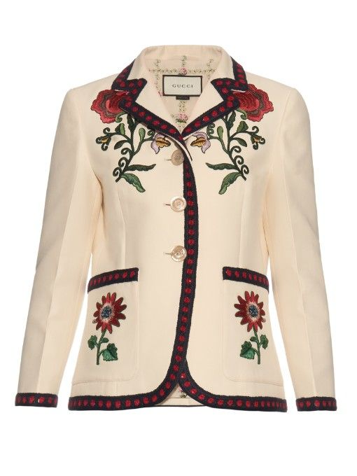 GUCCI Floral-Embroidered Silk And Cotton-Blend Jacket. #gucci #cloth #jacket