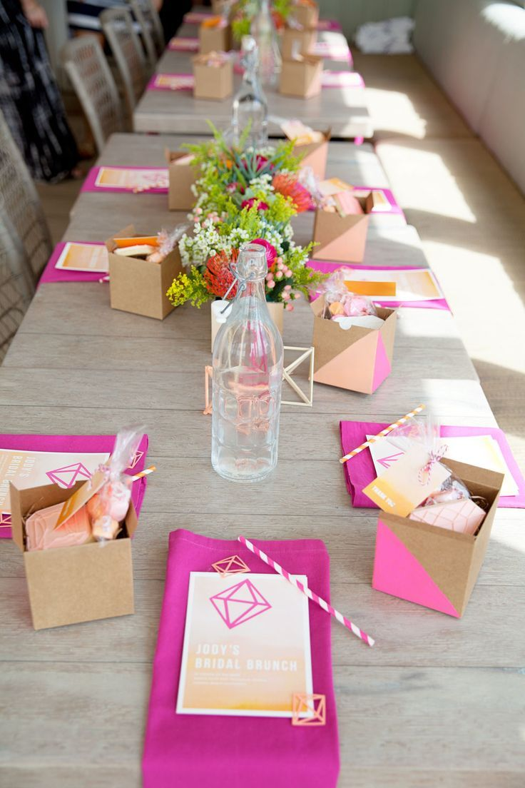 A few flowers and bright table decor can make such an impact for any bridal shower brunch | Tell Love and Party