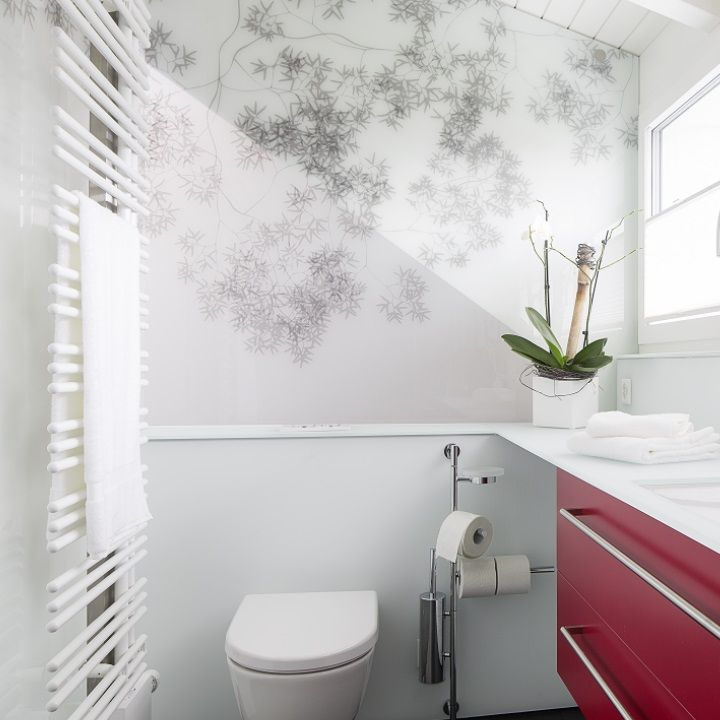 Hygienische Wandverkleidung aus Glas mit bedrucktem Motiv - wandverkleidung küche glas