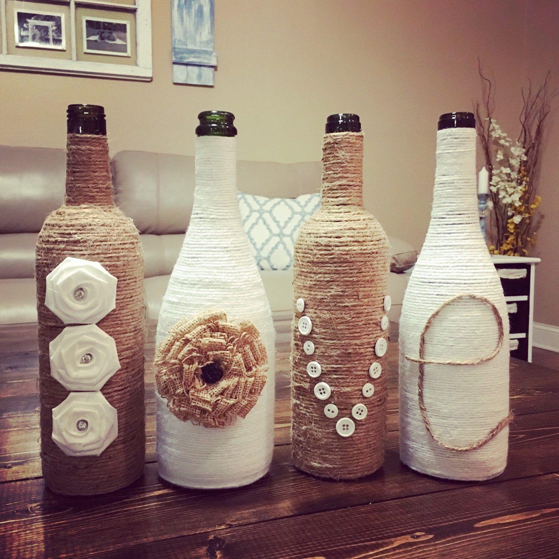 Twine Love Wine Bottles Upcycled Wine Bottles Country Rustic Wedding Wedding Decor Wine Bottle Decor Wedding Bottles Wine Bottle Decor Rustic Wedding Decor