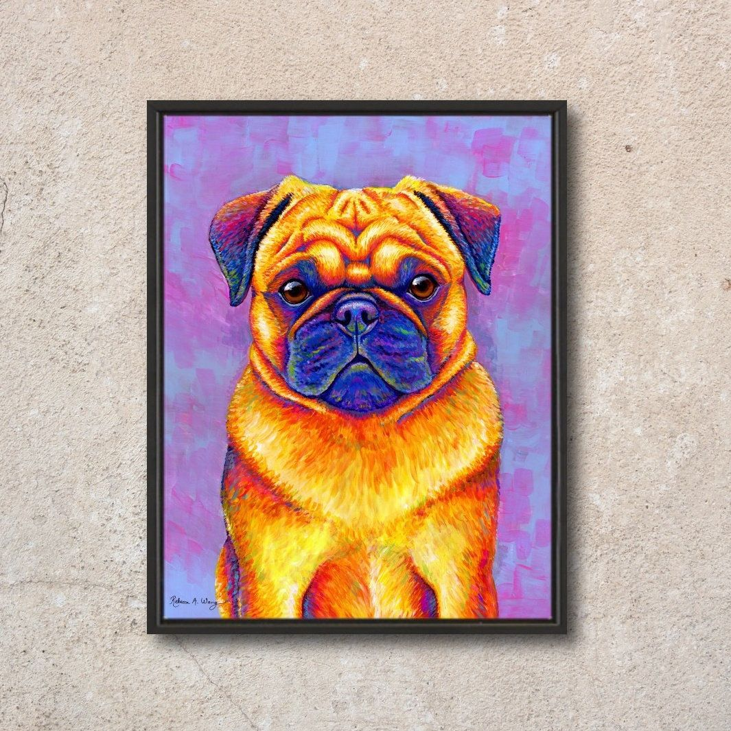 Colorful Rainbow Pug Dog Acrylic Painting On Board 11 X 14