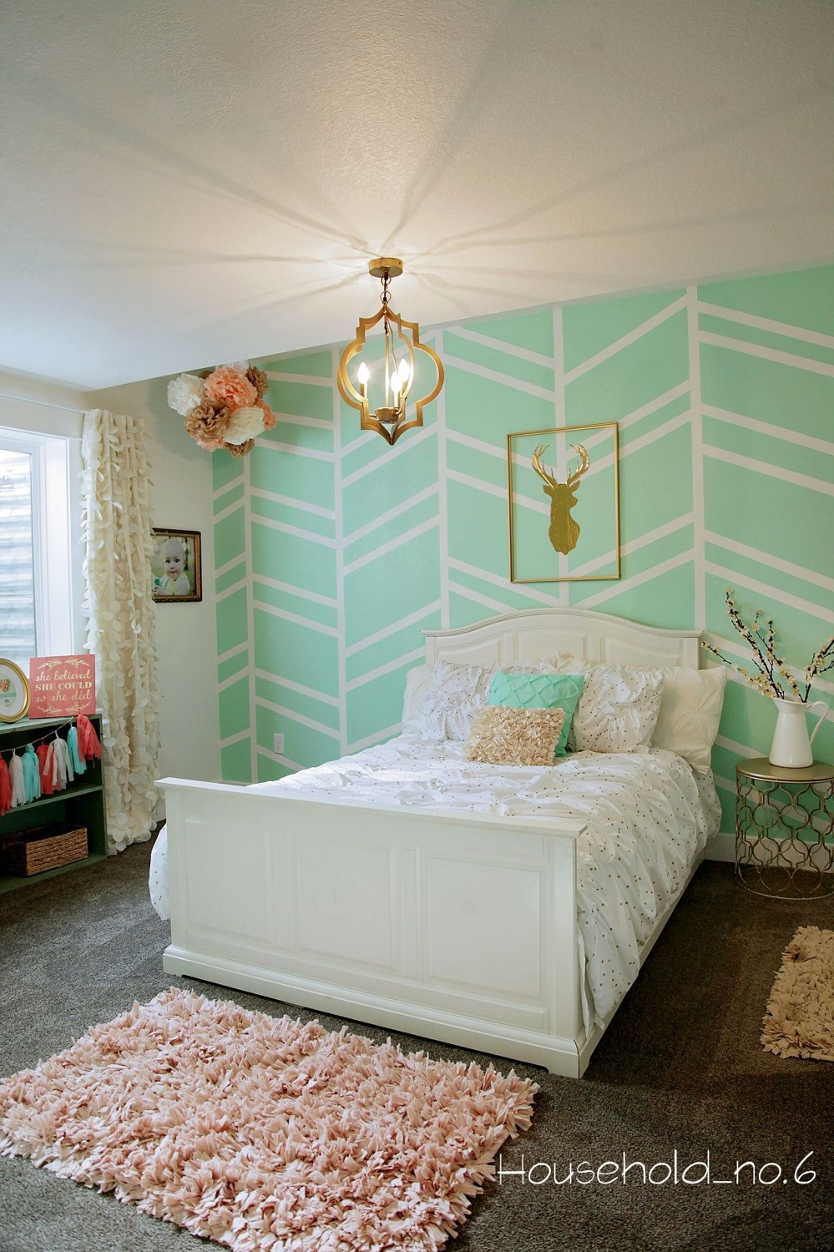 Tween mint and gold bedroom Harringbone wall
