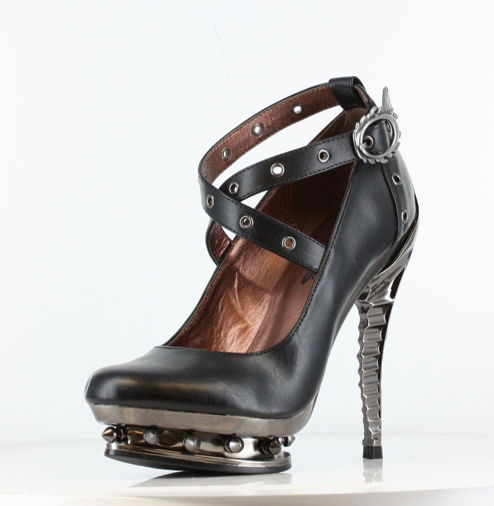 ピンヒール、黒い靴、靴 ブーツ