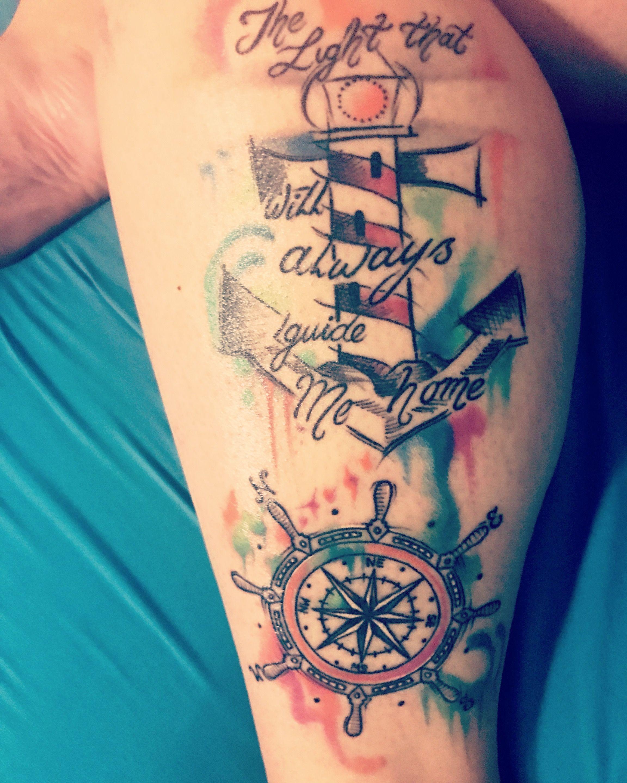 7fa929526 Lighthouse tattoo, watercolor, ships wheel, compass tattoo | Sleeve ...