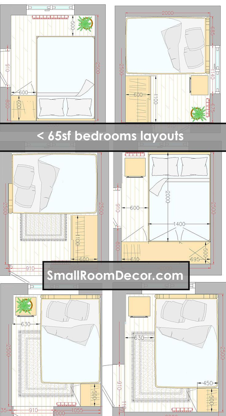 16 Standart And 2 Extreme Small Bedroom Layout Ideas From 65 To 140 Sf Small Bedroom Layout Master Bedroom Layout Small Room Layouts