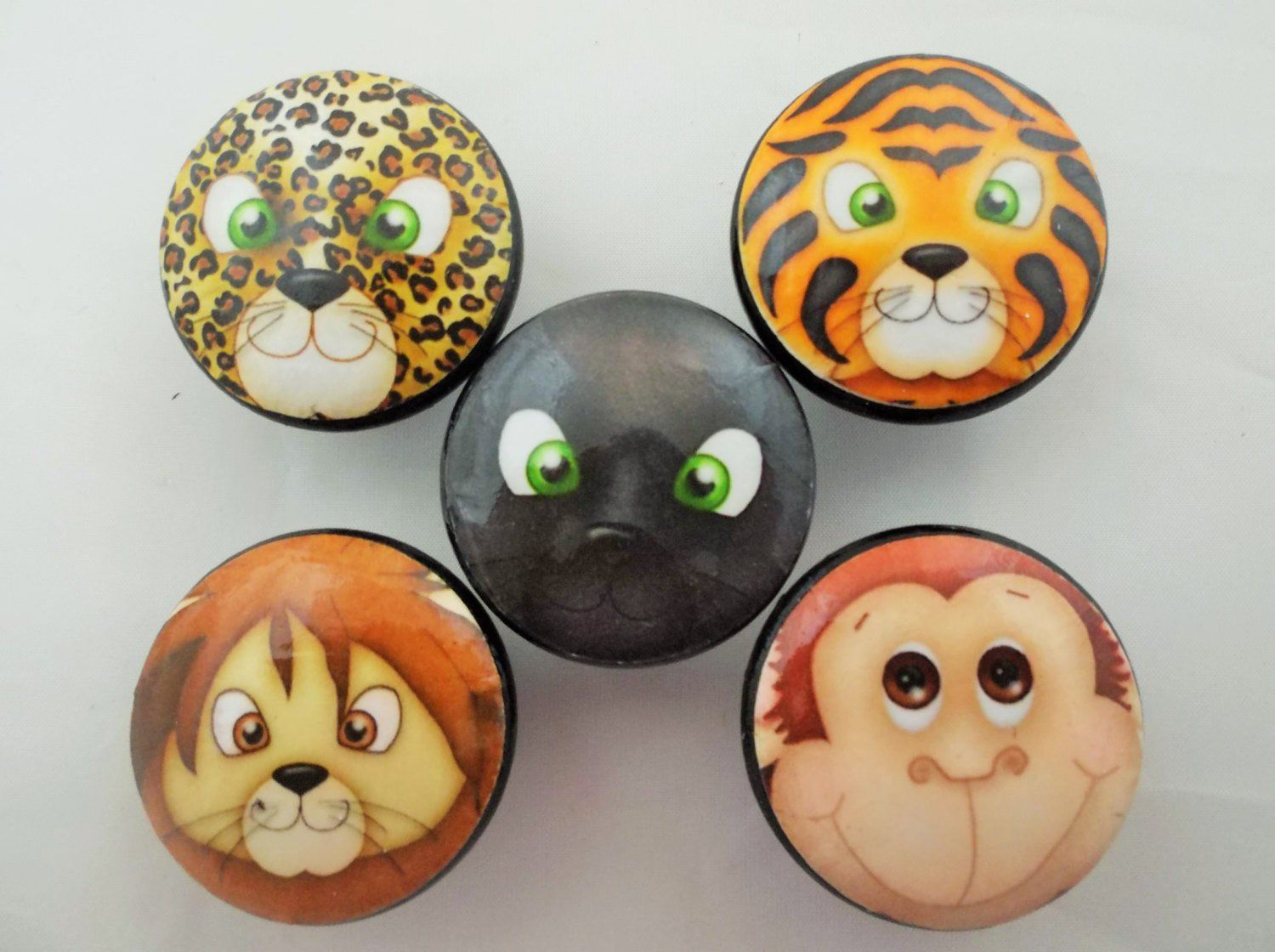 Set Of 5 Jungle Cat Faces Cabinet Knobs