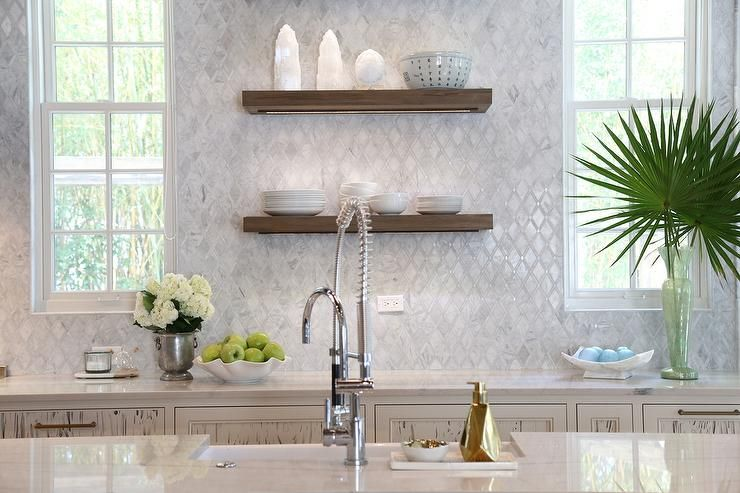 Marble Diamond Pattern Kitchen Backsplash Tiles