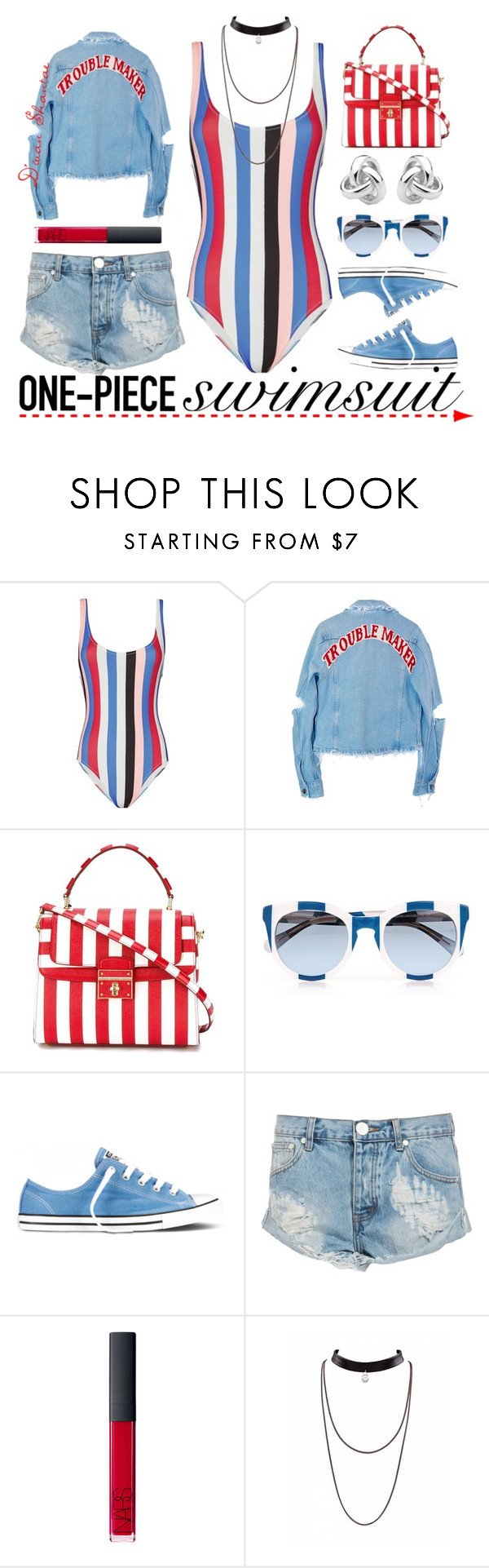 """""""Get The Look: Swimsuit Edition"""" by adswil ❤ liked on Polyvore featuring Solid & Striped, Dolce&Gabbana, Converse, One Teaspoon, NARS Cosmetics, Georgini, GetTheLook, summerstyle and Swimsuits"""