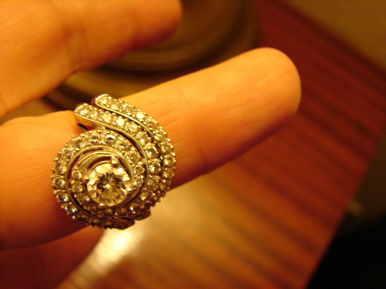 1970s Bridal Ring Set 49 DIAMONDS Stunning 14K White Gold Bridal