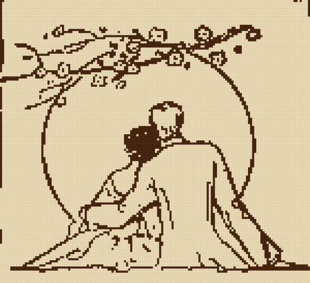 Схема вышивки пара силуэты