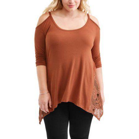 Plus Size Women's Plus Cold Shoulder Mixed Lace Top, Size: 3XL, Red